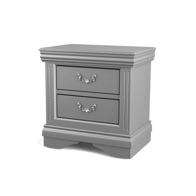 Troyes 2-Drawer Silver Gray Nightstand