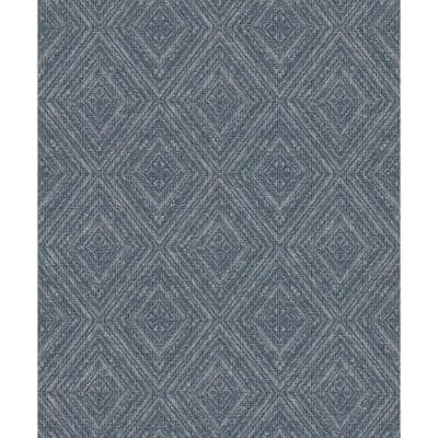 Metallic Fabric Diamonds Wallpaper Navy Paper Strippable Roll (Covers 57 sq. ft.)