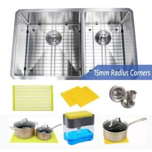 Undermount 16-Gauge Stainless Steel 32 in. x 19 in. x 10 in. 60/40 Offset Double Bowl Kitchen Sink Combo