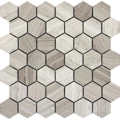 Limestone Gray Honed 12.01 in. x 12.01 in. x 10 mm Limestone Mesh-Mounted Mosaic Tile (0.98 sq. ft.)
