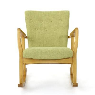 Callum Muted Green and Light Walnut Upholstered Rocker