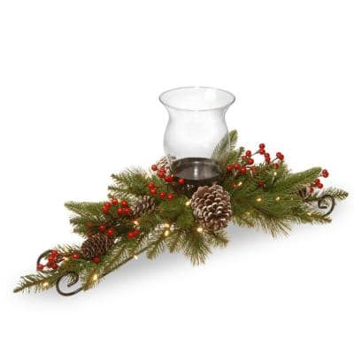 30 in. Feel Real Bristle Berry Centerpiece With  Battery Operated Lights, Berries and Cones
