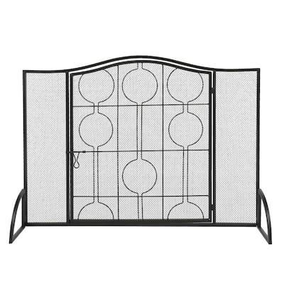 Single Panel Wrought Iron Fireplace Screen Metal Fire Spark Guard Fireplace Black