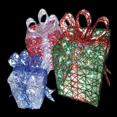 3 Count 11.25 in. 140-Light Presents Woven Glitter Wireframe