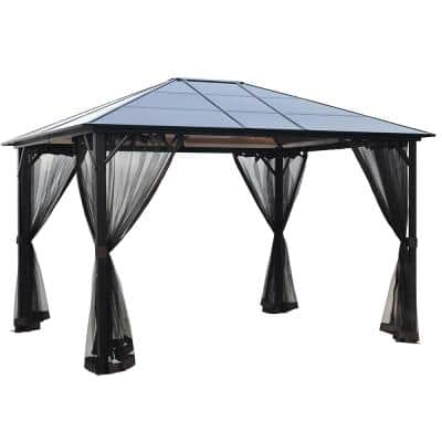 12 ft. x 10 ft. Outdoor Aluminum Gazebo with Polycarbonate Hardtop and Mosquito Netting