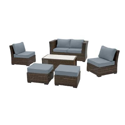 Whitfield 6-Piece Dark Brown Wicker Outdoor Patio Seating Set with Sunbrella Denim Blue Cushions