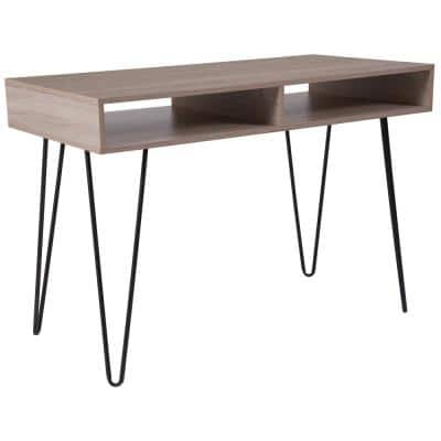 43.3 in. Rectangular Oak Wood Grain Writing Desks with Built-In Storage