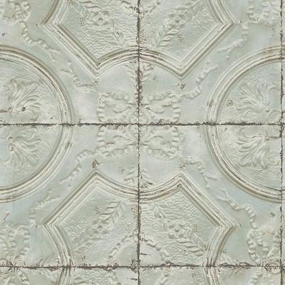 Susanna Teal Vintage Tin Tile Teal Wallpaper Sample