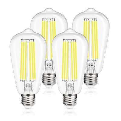 150-Watt Equivalent ST64 E26 Edison LED Light Bulb in Daylight 5000K (4-Pack)