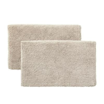 Biscuit 25 in. x 40 in. Non-Skid Cotton Bath Rug (Set of 2)