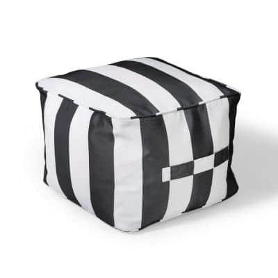 19 in. x 19 in. x 14 in. Black Cabana Outdoor Pouf