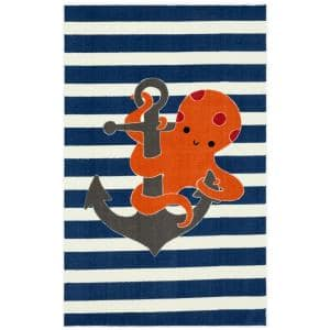 Little Octopus Navy 7 ft. 6 in. x 10 ft. Whimsical Area Rug
