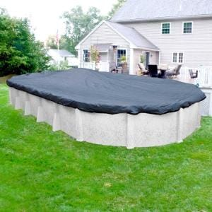 Robelle Premium Mesh Xl 18 Ft X 33 Ft Oval Blue And Black Mesh Above Ground Winter Pool Cover 421833 4 The Home Depot