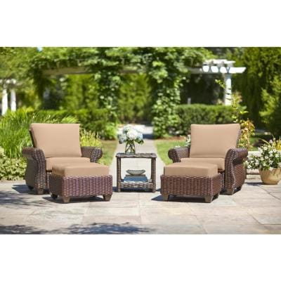 Mill Valley Brown Wicker Outdoor Patio Lounge Chair with Sunbrella Beige Tan Cushions