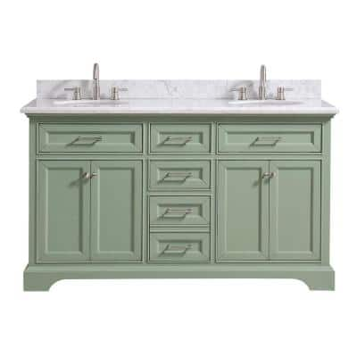 Windlowe 61 in. W x 22 in. D x 35 in. H Bath Vanity in Green with Carrera Marble Vanity Top in White with White Sink