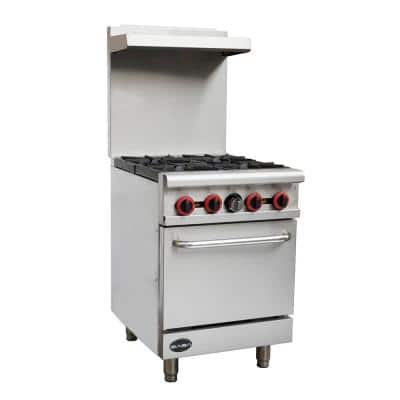 24 in. 2.9 cu. ft. Commercial 4 Burner Gas Range with Oven in Stainless Steel