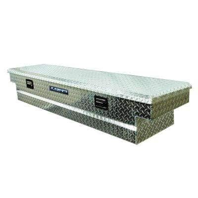 70 in Diamond Plate Aluminum Full Size Crossbed Truck Tool Box with mounting hardware and keys included, Silver
