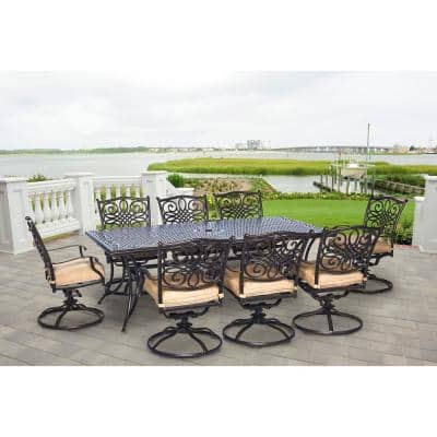 Traditions 9-Piece Aluminum Rectangular PatioOutdoorDining Set w/ Eight Swivel Dining Chairs and Natural Oat Cushions