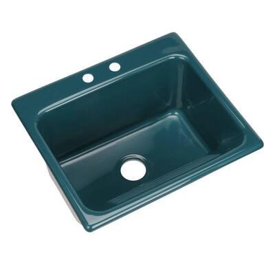 Kensington Drop-In Acrylic 25 in. 2-Hole Single Bowl Utility Sink in Teal