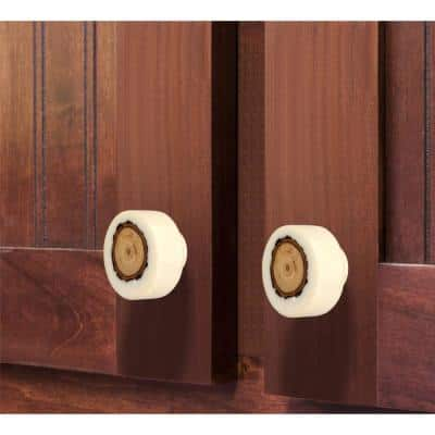Fusion Log 1-2/5 in. (35 mm) White and Light Brown Cabinet Knob