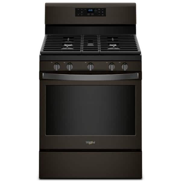 Whirlpool 5 0 Cu Ft Gas Range With Self Cleaning Oven And Center Oval Burner In Fingerprint Resistant Black Stainless Wfg525s0hv The Home Depot