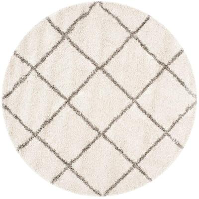 Hudson Shag Ivory/Gray 5 ft. x 5 ft. Round Diamonds Geometric Area Rug