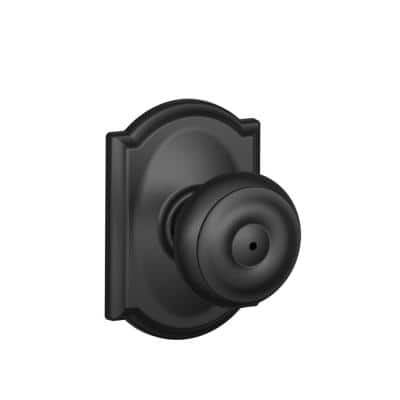 Georgian Matte Black Privacy Bed/Bath Door Knob with Camelot Trim