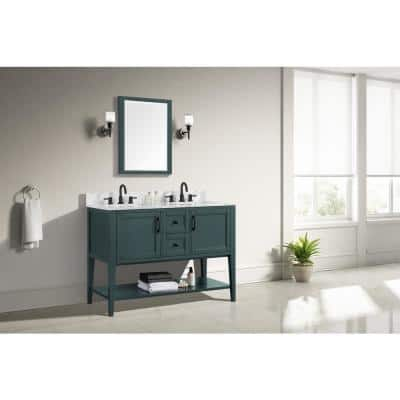 Sherway 49 in. W x 22 in. D Bath Vanity in Antigua Green with Marble Vanity Top in Carrara White with White Basins