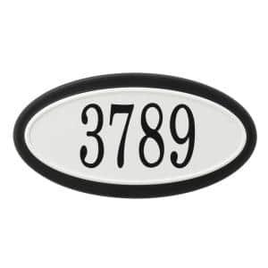 Classic Oval Plastic Black and White Address Plaque