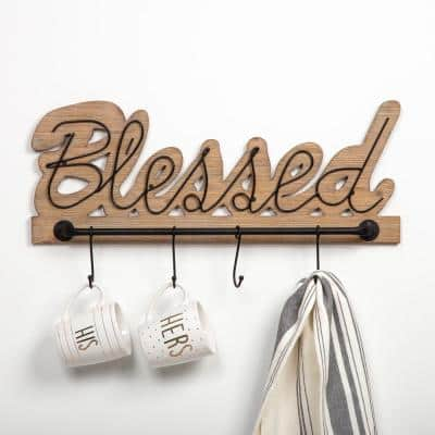 Rustic Blessed Brown Wood and Metal Decorative Sign with Hooks