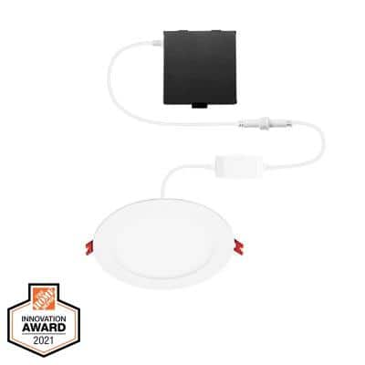 6 in. Smart Hubspace Ultra Slim New Construction and Remodel RGB+W LED Recessed Kit Works with Amazon Alexa and Google