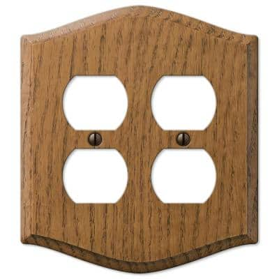 Country 2 Gang Duplex Wood Wall Plate - Medium Oak