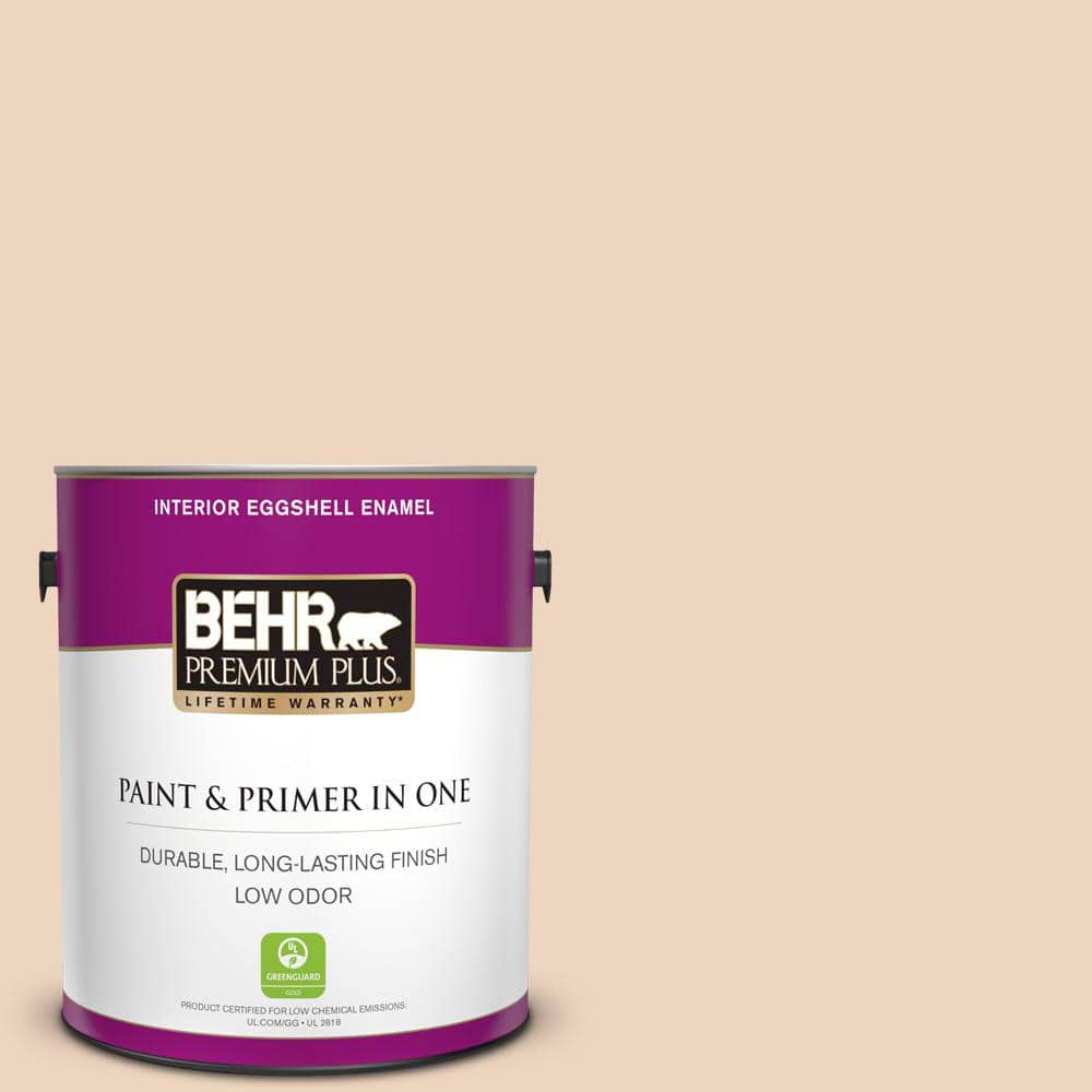 Behr Premium Plus 1 Gal Ppu4 10 Porcelain Skin Eggshell Enamel Low Odor Interior Paint And Primer In One 205001 The Home Depot