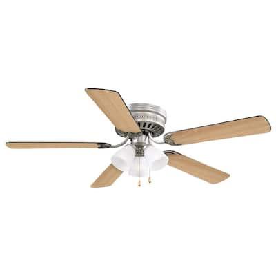 Millbridge 52 in. Traditional 3-Speed Indoor Satin Nickel Hugger/Low Profile Ceiling Fan with Light Kit