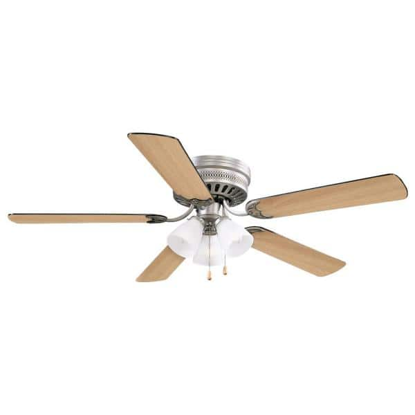 Design House Millbridge 52 In Traditional 3 Speed Indoor Satin Nickel Hugger Low Profile Ceiling Fan With Light Kit 157388 Sn The Home Depot