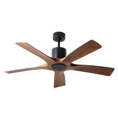 Aviator 54 in. Indoor/Outdoor Matte Black Distressed Koa 5-Blade Smart Ceiling Fan Light Kit Adaptable with Wall Control