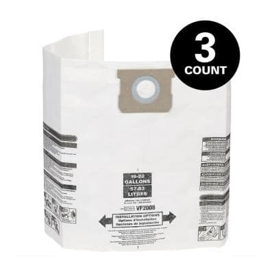 15 Gallon to 22 Gallon Dust Collection Bags for Shop-Vac Branded Wet/Dry Shop Vacuums (3-Pack)