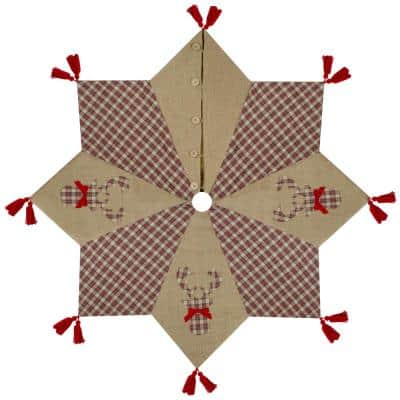 48 in. Red and Brown Burlap and Plaid Reindeer Christmas Tree Skirt with Tassels