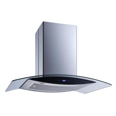 36 in. 520 CFM Convertible Kitchen Island Mount Range Hood in Stainless Steel with Tempered Glass and Touch Control