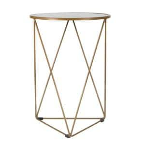 24 in. Metal Accent Triangle Gold Base Round Mirror Top Accent Table