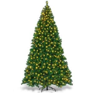 9 ft. Pre-Lit PVC Artificial Christmas Tree Hinged with 700 LED Lights and Stand