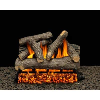 Dundee Oak 24 in. Vented Natural Gas Fireplace Log Set with Complete Kit, Match Lit