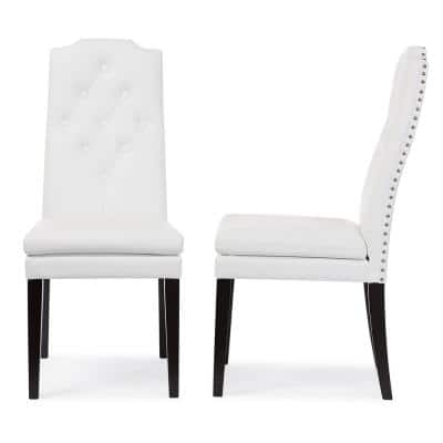 Dylin White Faux Leather Upholstered Dining Chairs (Set of 2)