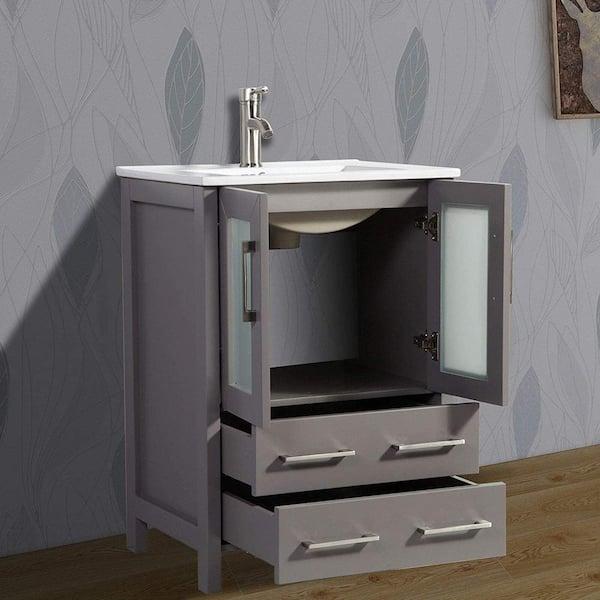 Vanity Art Brescia 24 In W X 18 In D X 36 In H Bath Vanity In Grey With Vanity Top In White With White Basin And Mirror Va3024g The Home Depot