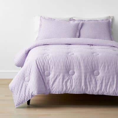 Company Kids Gingham 3-Piece Lilac Organic Cotton Percale Full Comforter Set