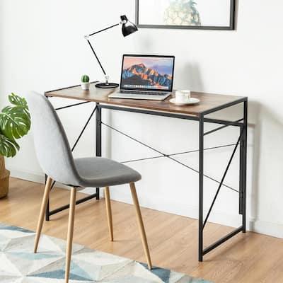 39.5 in. Retangular Rustic Brown Wood Computer Desk with Large Worktop