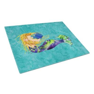 Blonde Mermaid on Teal Tempered Glass Large Cutting Board