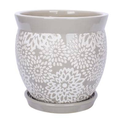 Farrah 7.1 in. x 6.9 in. Gray Ceramic Pot