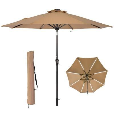 9 ft. Beige Patio Umbrella Solar Light Outdoor Market Umbrella