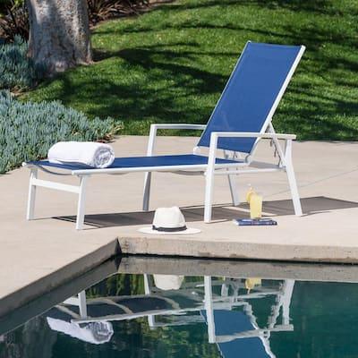 Nova White Frame Adjustable Sling Outdoor Chaise Lounge in Navy Blue Sling